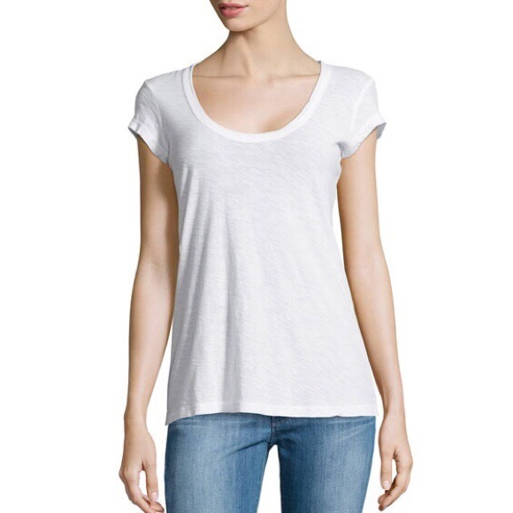 James Perse Scoop Neck White Tee Nwt